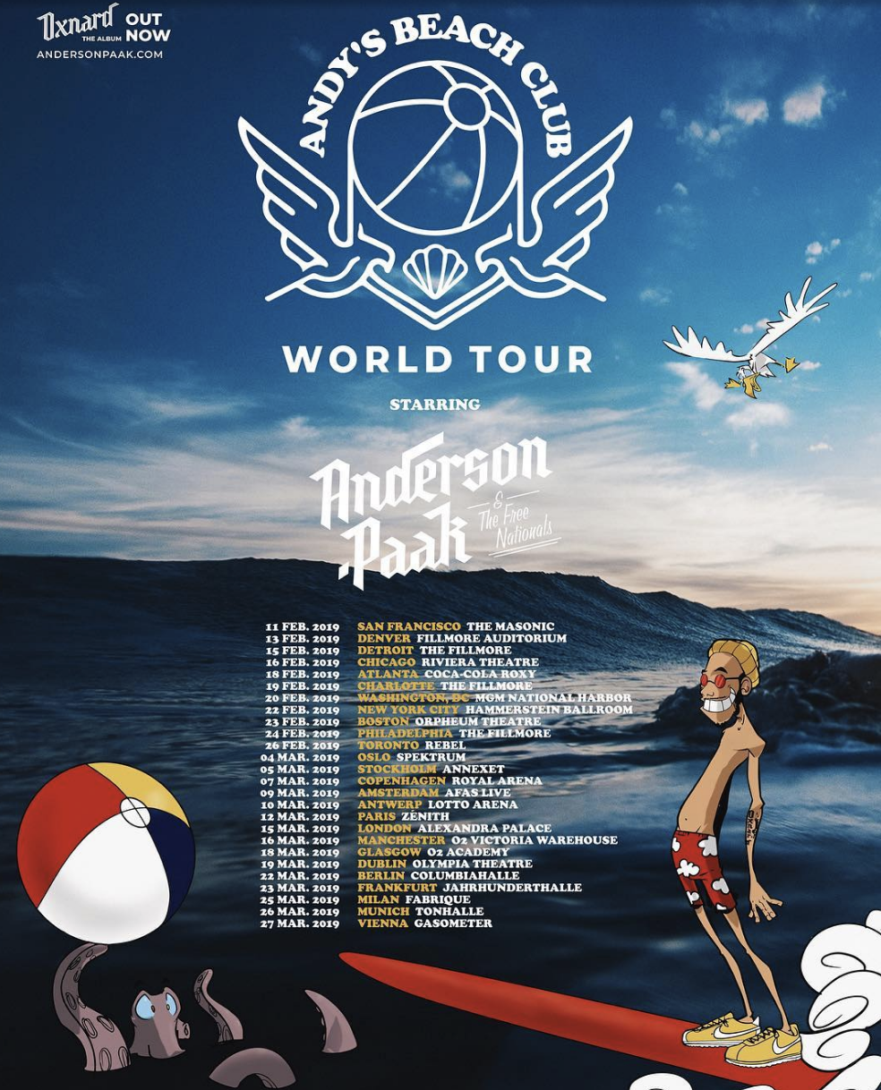 Anderson .Paak Welcomes Maurice 'MoBetta' Brown to the Free Nationals Family for the upcoming 'Andy's Beach Club' 2019 World Tour